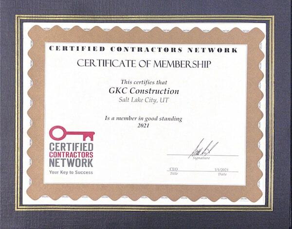 Certified Contractors Network Certficate of Membership